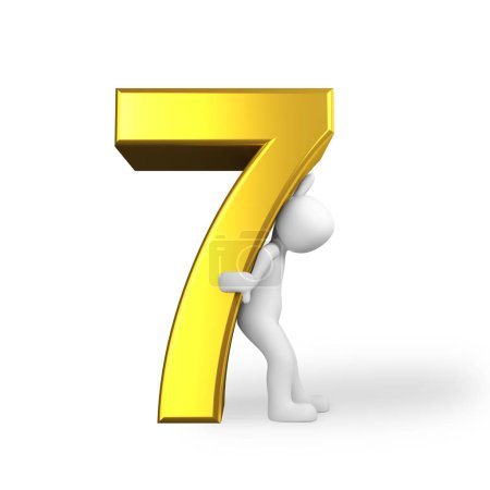 The number 7 seven in golden letters...
