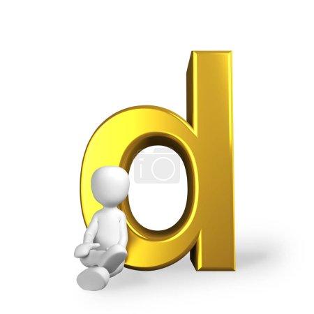 Photo pour La lettre d en lettres dorées - image libre de droit