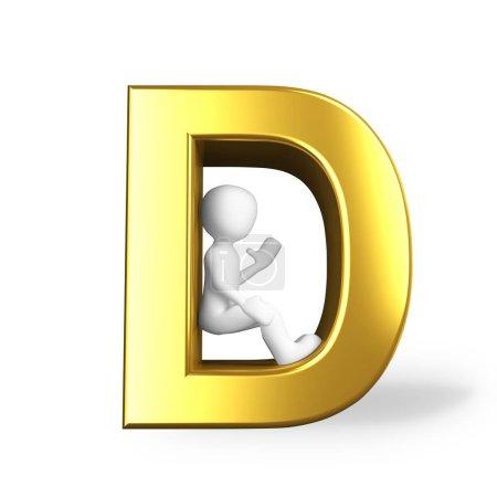 Photo pour La lettre D en couleur dorée - image libre de droit