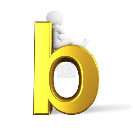 Photo pour La lettre b en couleur dorée - image libre de droit