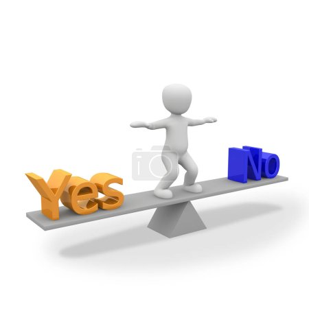 Photo pour Balance, oui ou non, peser si, oui et non est la balance - image libre de droit