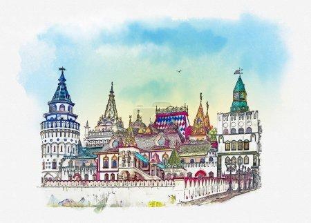 Photo pour Izmailovo Kremlin. Moscou, Russe. Croquis aquarelle - image libre de droit