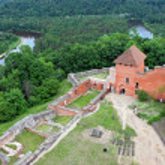 Turaida Castle in Sigulda, Latvia. Gauja river and...