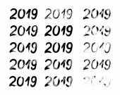 2019 Hand drawn numbers with brush Vector set of 15 hand writte