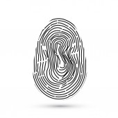 Fingerprint vector icon isolated on write with shadow Security access authorization system Biometric technology for person identity Identification system concept Easy to edit template