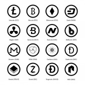 Set of 16 crypto currency vector icons  Bitcoin Litecoin Dash Zcash Ethereum Monero Ripple Dashcoin Stratis BitShares NEO Dogecoin Bytecoin Navcoin NEM Cardano Digital currency