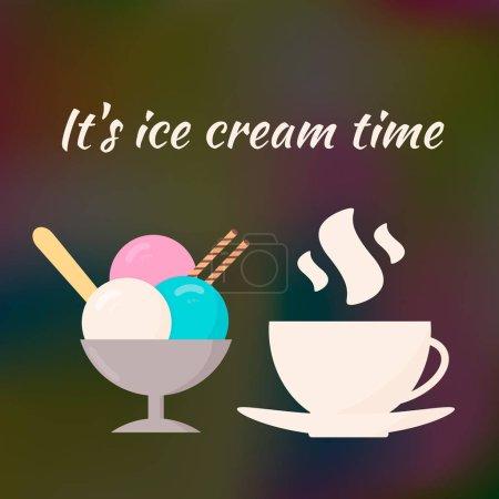 Illustration pour Crème glacée et tasse de café sur fond sombre dégradé flou. Illustration vectorielle. Bannière pour caf et restaurant. Modèle de conception facile à modifier pour les sites Web et les médias sociaux - image libre de droit