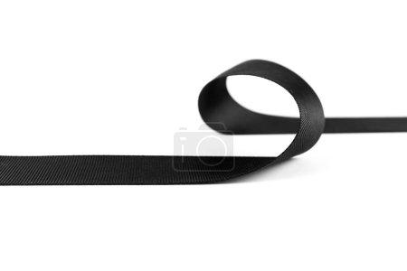 Photo pour Ruban noir isolé sur blanc, espace copie - image libre de droit