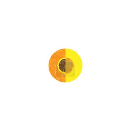 Photo pour Icône de pêcher la moitié. Plate illustration de moitié icône vector pêcher pour la conception web - image libre de droit