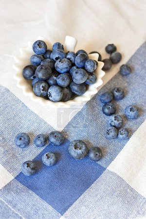 Photo for Close up of blueberries in white bowl - Royalty Free Image