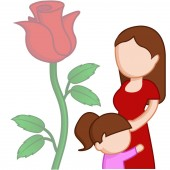 mother with her daughter and a red rose