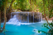 Beautiful Waterfall in deep forest at Erawan waterfall National Park, Kanchanaburi, Thailand