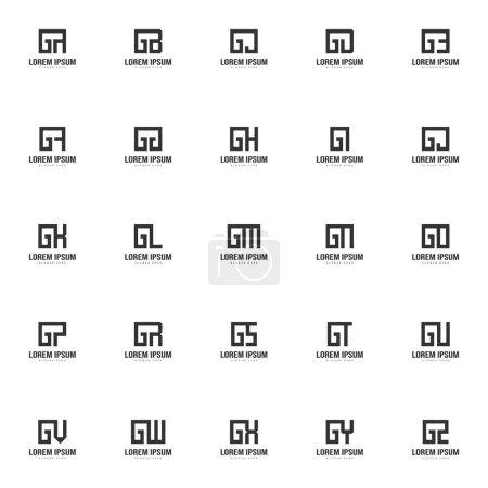 Conjunto de plantilla de logotipo de letra. Diseño de plantilla de logotipo de letra mínima