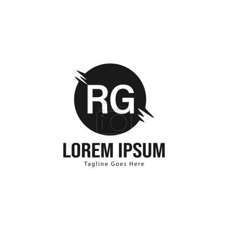 Plantilla de logotipo RG inicial con marco moderno. Ilustración de vector de logotipo de letra RG minimalista