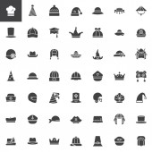 Hat cap headdress headwear vector icons set modern solid symbol collection filled pictogram pack Signs logo illustration Set includes icons as chef hat party hat pilgrim hat