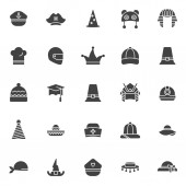 Headdress vector icons set modern solid symbol collection filled style pictogram pack Signs logo illustration Set includes icons as marine hat pirate wizard pharaoh chef hat motorcycle helmet