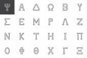 Greek alphabet symbols outline icons set