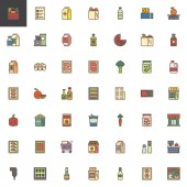 Grocery goods filled outline icons set