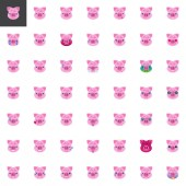 Piggy Face Emoji elements collection