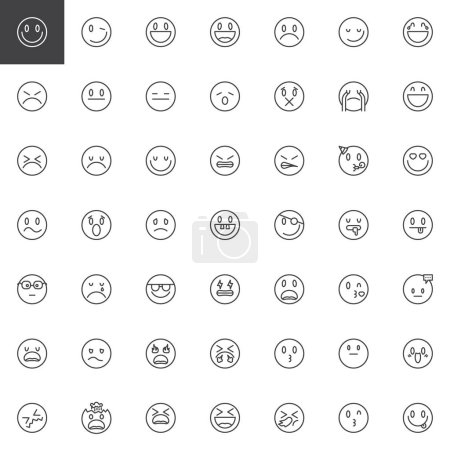 Illustration for Smileys, emoticons line icons set. linear style symbols collection, outline signs pack. vector graphics. Set includes icons as ball emoji character, happy emotion, smile face, smiley, circle, emoji - Royalty Free Image