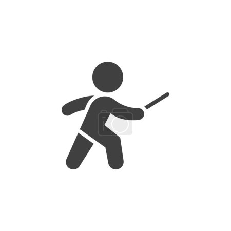 Photo for Fencing sport vector icon. filled flat sign for mobile concept and web design. Fencer man glyph icon. Symbol, logo illustration. Vector graphics - Royalty Free Image
