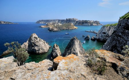 Puglia, Italy, August 2018, seascape of Tremiti islands with Pagliai cliffs in San Domino island. Adriatic seaand San Nicola island in the background