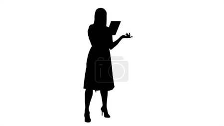 Photo for Full length portrait. Silhouette Young Girl Online Video Chat on Tablet. Professional shot in 4K resolution. 005. You can use it e.g. in your commercial video, business, presentation, broadcast - Royalty Free Image