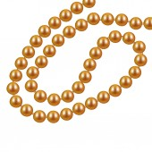 Gold necklace from pearls on a white background Vector illustration