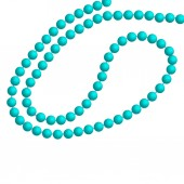 Turquoise pearl necklace over a white background Vector illustration