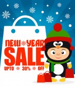 ew Year sale background upto 30 % off with child in costume penguinVector illustration