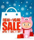 ew Year sale background upto 50 % off with child in costume pigVector illustration