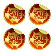 New Year sale gold stickers 10203040 with pigVector illustration