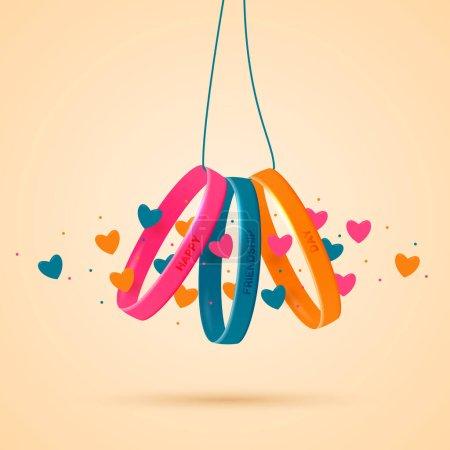 Illustration pour Journée de l'amitié. Trois bracelets en silicone avec inscriptions de félicitations sur une corde. Joyeuses vacances d'amitié. Illustration vectorielle. - image libre de droit