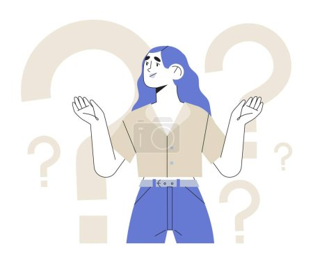 Thoughtful character with question marks solving problems or searching solutions. Problem solving and choice. Woman puzzled and do not know right answer. Frequently asked questions concept.