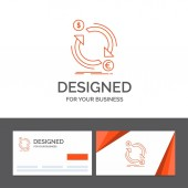 Business logo template for exchange currency finance money convert Orange Visiting Cards with Brand logo template