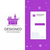 Business Logo for Biology chemistry lab laboratory production Vertical Purple Business / Visiting Card template Creative background vector illustration