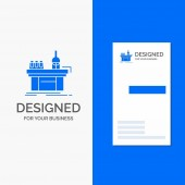 Business Logo for Biology chemistry lab laboratory production Vertical Blue Business / Visiting Card template