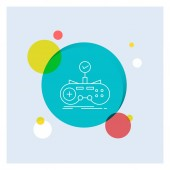 Check controller game gamepad gaming White Line Icon colorful Circle Background