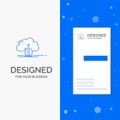 Business Logo for cloud upload save data computing Vertical Blue Business / Visiting Card template