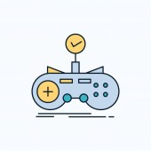 Check controller game gamepad gaming Flat Icon green and Yellow sign and symbols for website and Mobile appliation vector illustration