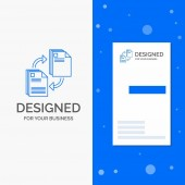 Business Logo for sharing share file document copying Vertical Blue Business / Visiting Card template