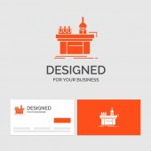 Business logo template for Biology chemistry lab laboratory production Orange Visiting Cards with Brand logo template