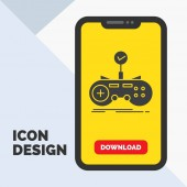 Check controller game gamepad gaming Glyph Icon in Mobile for Download Page Yellow Background