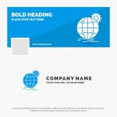 Blue Business Logo Template for international business globe world wide gear Facebook Timeline Banner Design vector web banner background illustration