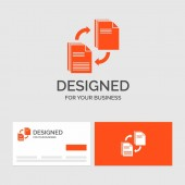 Business logo template for sharing share file document copying Orange Visiting Cards with Brand logo template
