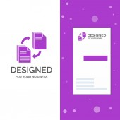 Business Logo for sharing share file document copying Vertical Purple Business / Visiting Card template Creative background vector illustration
