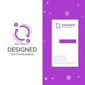 Business Logo for exchange currency finance money convert Vertical Purple Business / Visiting Card template Creative background vector illustration