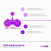 Check controller game gamepad gaming Infographics Template for Website and Presentation GLyph Purple icon infographic style vector illustration