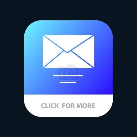 Correo, Correo electrónico, Botón de aplicación móvil de texto. Android y IOS Glyph Versi