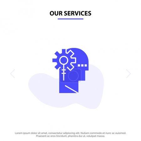 Illustration pour Nos services Analytique, critique, humain, information, traitement Modèle de carte Web d'icône de glyphe solide - image libre de droit